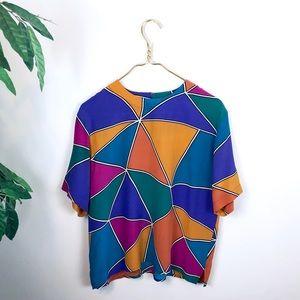 VTG • Silk SLB Multicolored Short-sleeved Blouse.